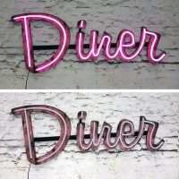 Retro distressed diner sign with pink LED neon