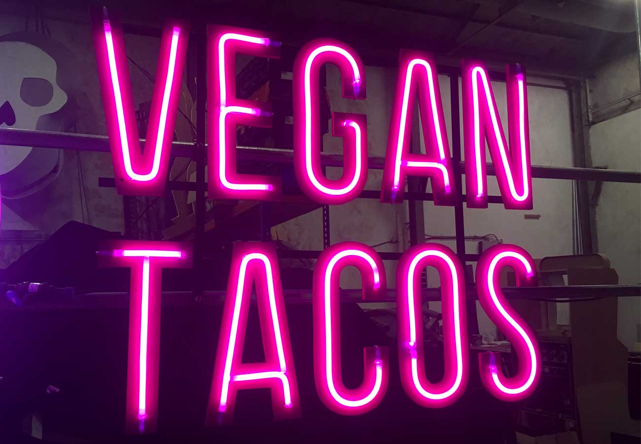 Pink LED neon sign, VEGAN TACOS